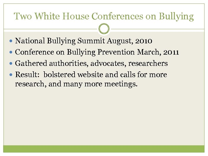 Two White House Conferences on Bullying National Bullying Summit August, 2010 Conference on Bullying