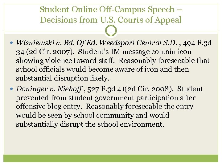 Student Online Off-Campus Speech – Decisions from U. S. Courts of Appeal Wisniewski v.