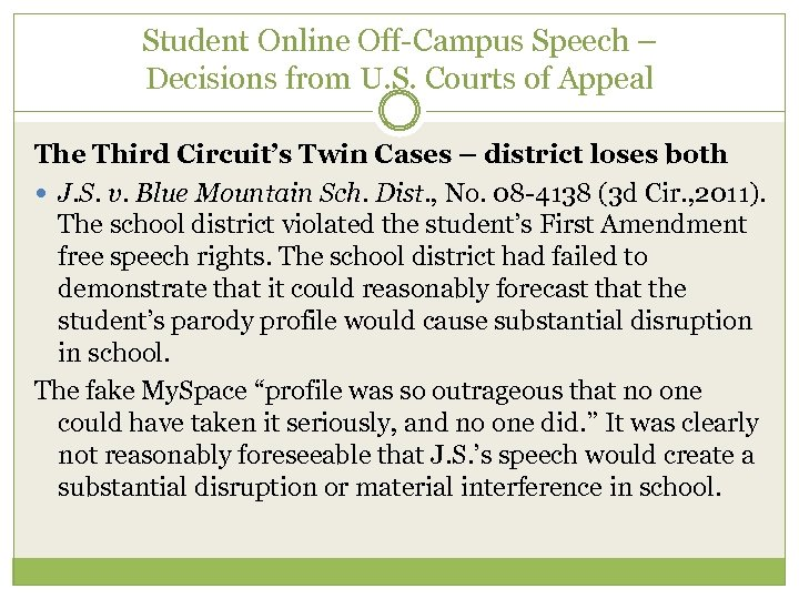 Student Online Off-Campus Speech – Decisions from U. S. Courts of Appeal The Third