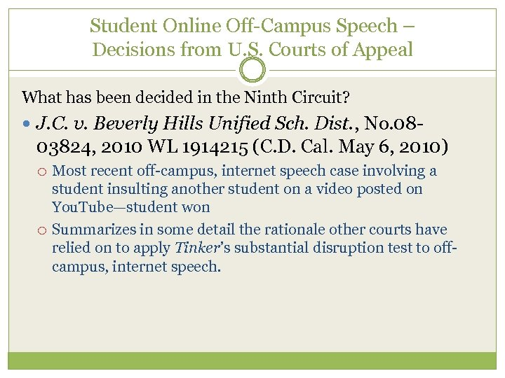 Student Online Off-Campus Speech – Decisions from U. S. Courts of Appeal What has