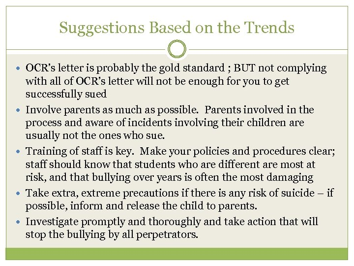 Suggestions Based on the Trends OCR's letter is probably the gold standard ; BUT