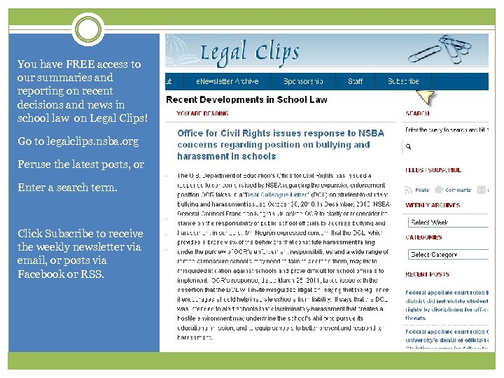 You have FREE access to our summaries and reporting on recent decisions and news