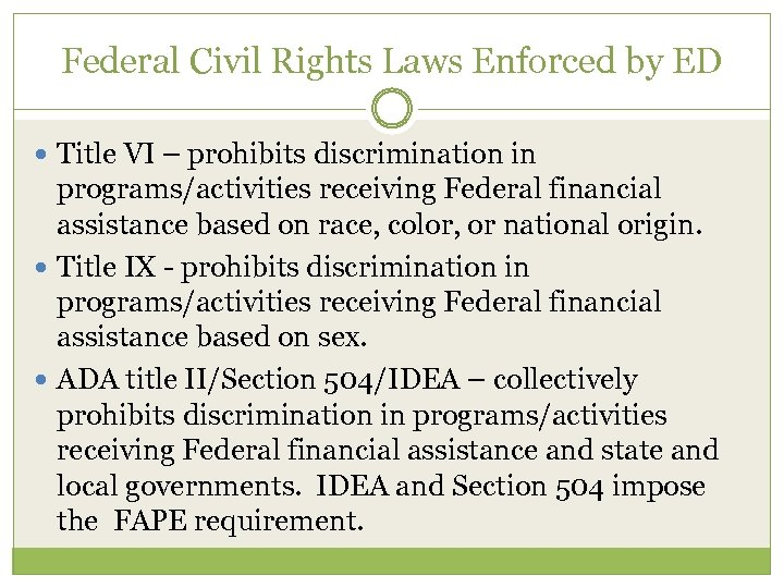 Federal Civil Rights Laws Enforced by ED Title VI – prohibits discrimination in programs/activities