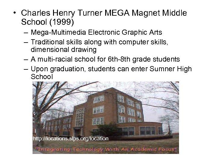 • Charles Henry Turner MEGA Magnet Middle School (1999) – Mega-Multimedia Electronic Graphic