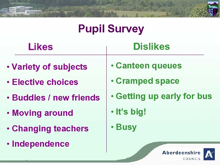 Pupil Survey Likes Dislikes • Variety of subjects • Canteen queues • Elective choices