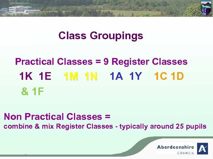 Class Groupings Practical Classes = 9 Register Classes 1 K 1 E 1 M