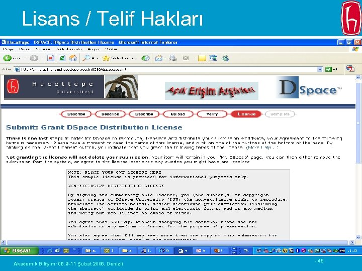 Lisans / Telif Hakları Akademik Bilişim ' 06, 9 -11 Şubat 2006, Denizli -