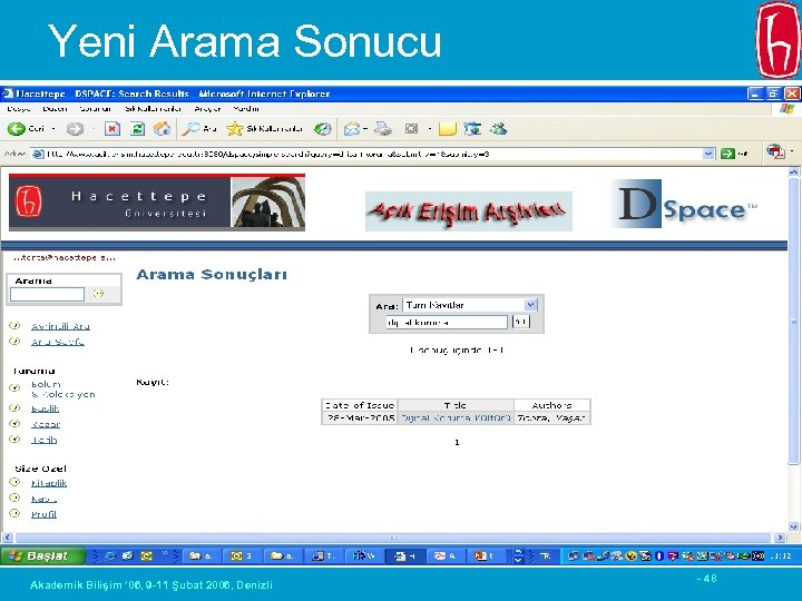 Yeni Arama Sonucu Akademik Bilişim ' 06, 9 -11 Şubat 2006, Denizli - 48