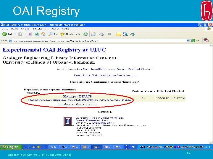 OAI Registry Akademik Bilişim ' 06, 9 -11 Şubat 2006, Denizli - 57