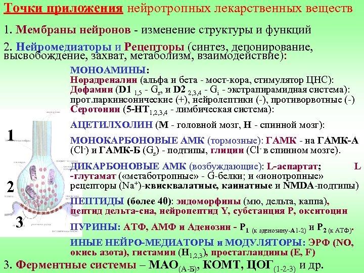 Точки приложения нейротропных лекарственных веществ 1. Мембраны нейронов - изменение структуры и функций 2.