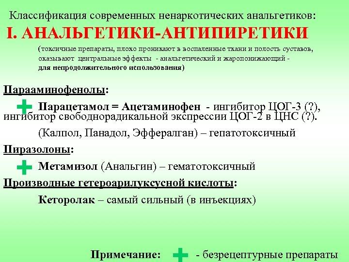 Классификация современных ненаркотических анальгетиков: I. АНАЛЬГЕТИКИ-АНТИПИРЕТИКИ (токсичные препараты, плохо проникают в воспаленные ткани и
