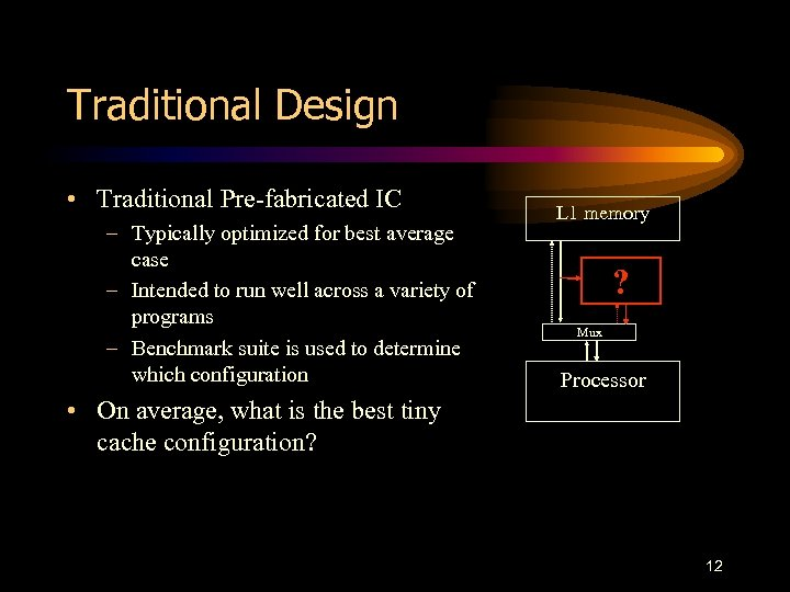 Traditional Design • Traditional Pre-fabricated IC – Typically optimized for best average case –