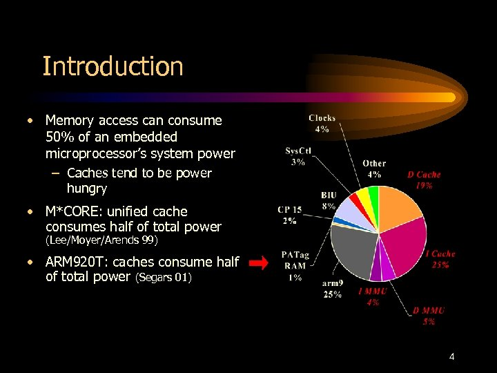 Introduction • Memory access can consume 50% of an embedded microprocessor's system power –