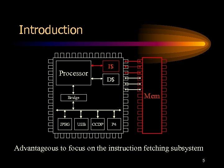 Introduction I$ Processor D$ Mem Bridge JPEG USB CCDP P 4 Advantageous to focus