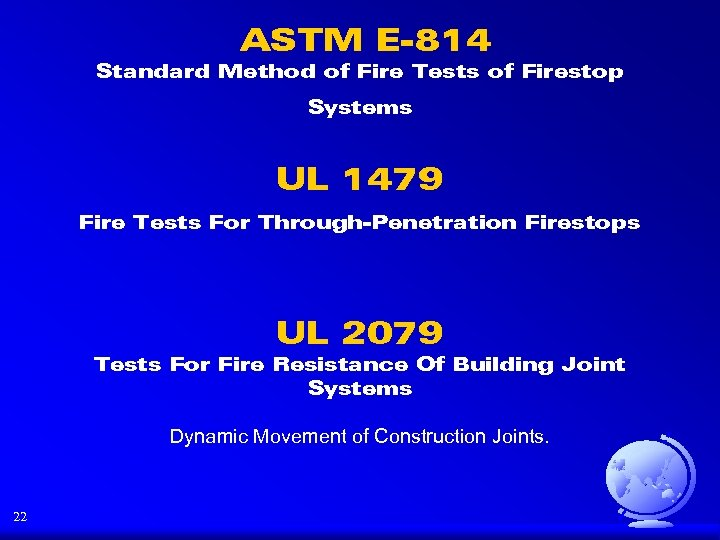 ASTM E-814 Standard Method of Fire Tests of Firestop Systems UL 1479 Fire Tests