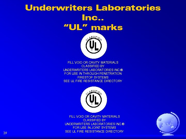 "Underwriters Laboratories Inc. . ""UL"" marks FILL VOID OR CAVITY MATERIALS CLASSIFIED BY UNDERWRITERS"