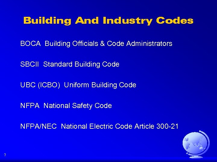 Building And Industry Codes BOCA Building Officials & Code Administrators SBCII Standard Building Code