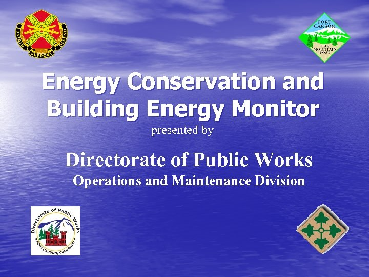 Energy Conservation and Building Energy Monitor presented by Directorate of Public Works Operations and