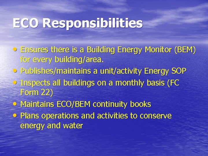 ECO Responsibilities • Ensures there is a Building Energy Monitor (BEM) • • for