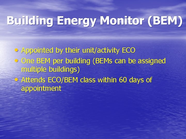 Building Energy Monitor (BEM) • Appointed by their unit/activity ECO • One BEM per