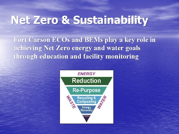 Net Zero & Sustainability Fort Carson ECOs and BEMs play a key role in