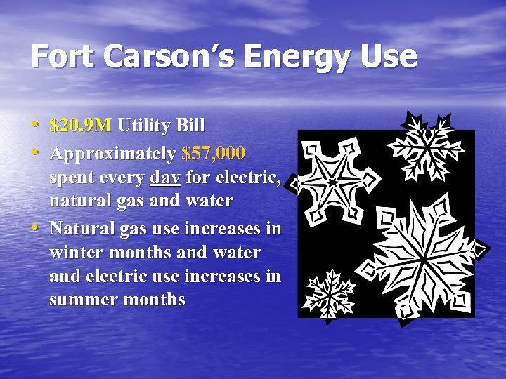 Fort Carson's Energy Use • $20. 9 M Utility Bill • Approximately $57, 000