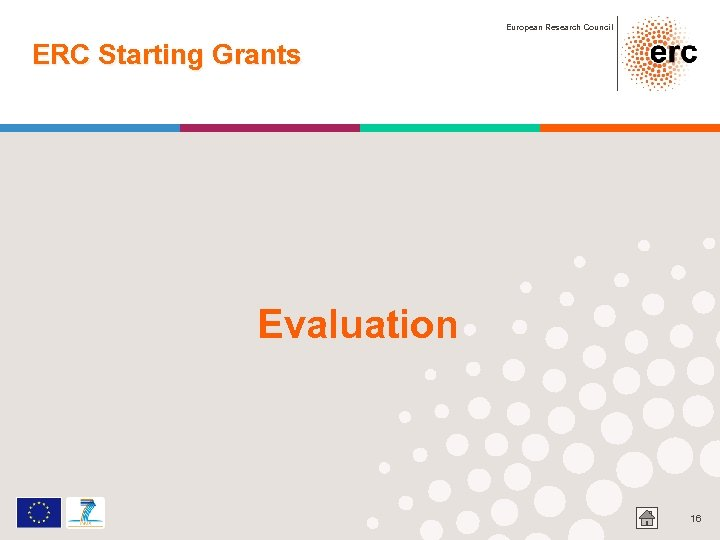 European Research Council ERC Starting Grants Evaluation 16