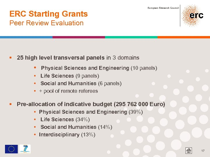ERC Starting Grants European Research Council Peer Review Evaluation § 25 high level transversal