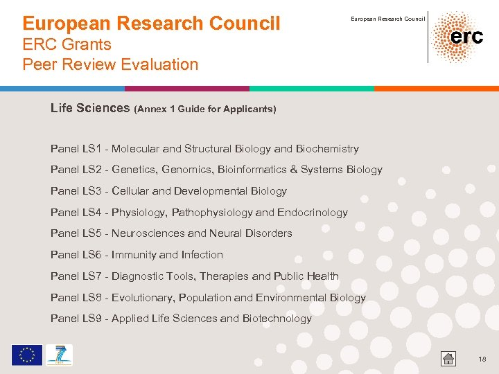 European Research Council ERC Grants Peer Review Evaluation Life Sciences (Annex 1 Guide for