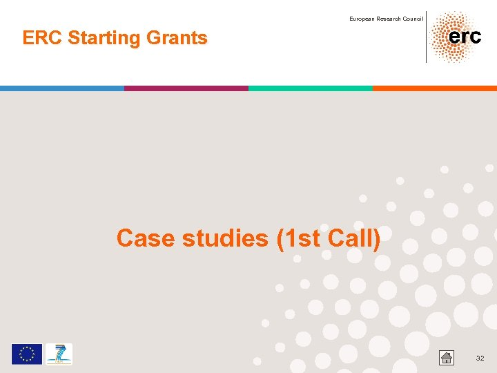European Research Council ERC Starting Grants Case studies (1 st Call) 32