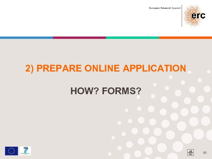 European Research Council 2) PREPARE ONLINE APPLICATION HOW? FORMS? 50