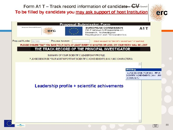 European CV Form A 1 T – Track record information of candidate - Research