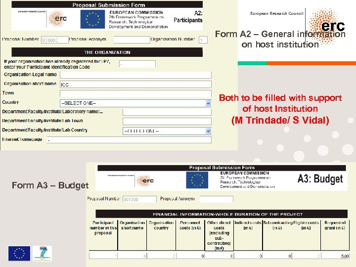 European Research Council Form A 2 – General information on host institution Both to