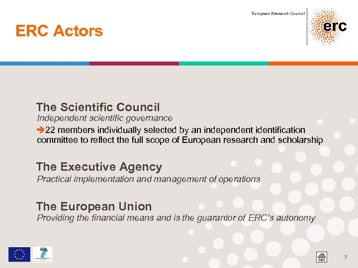 European Research Council ERC Actors The Scientific Council Independent scientific governance è 22 members