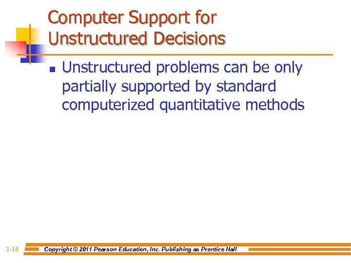 Computer Support for Unstructured Decisions n 1 -18 Unstructured problems can be only partially