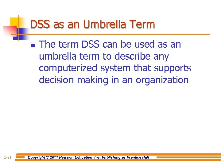 DSS as an Umbrella Term n 1 -21 The term DSS can be used