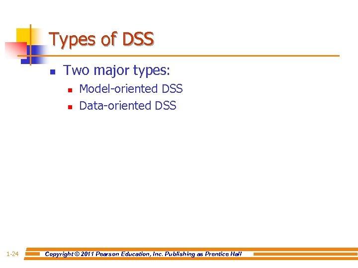 Types of DSS n Two major types: n n 1 -24 Model-oriented DSS Data-oriented