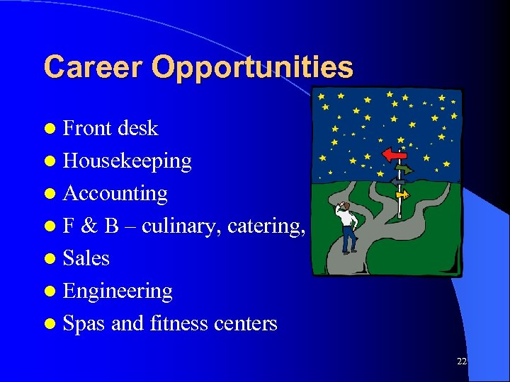 Career Opportunities l Front desk l Housekeeping l Accounting l F & B –