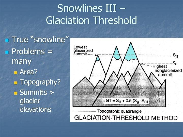 """Snowlines III – Glaciation Threshold n n True """"snowline"""" Problems = many Area? n"""