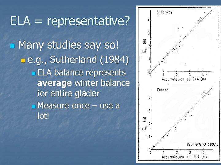 ELA = representative? n Many studies say so! n e. g. , Sutherland (1984)