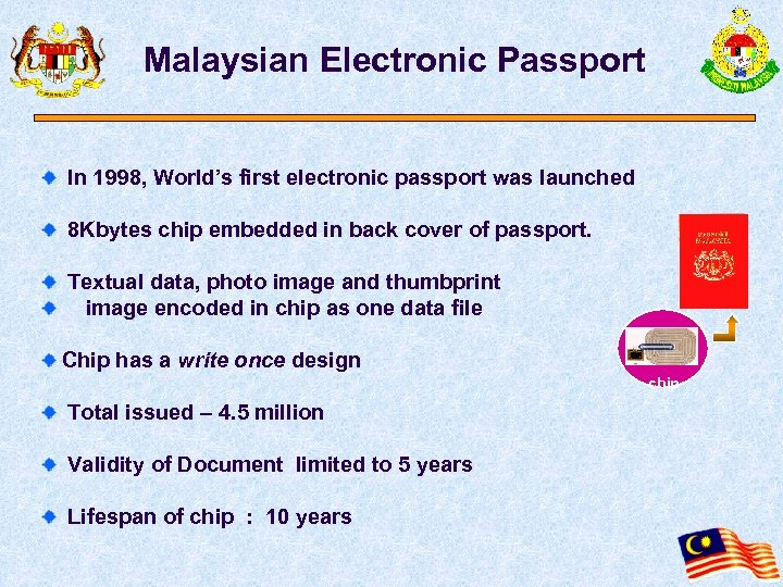 Malaysian Electronic Passport In 1998, World's first electronic passport was launched 8 Kbytes chip