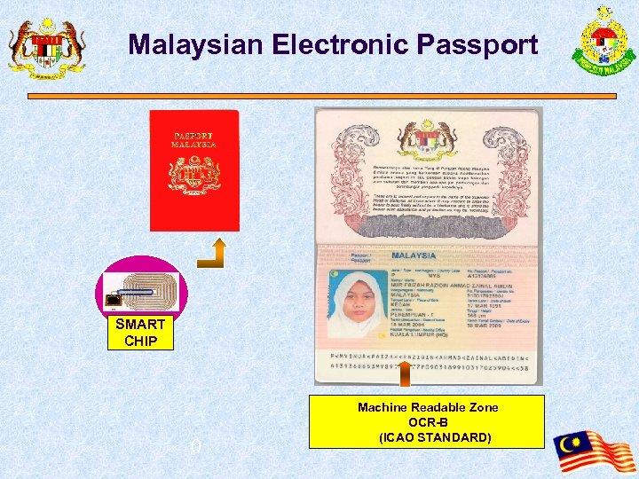Malaysian Electronic Passport SMART CHIP 0 Machine Readable Zone OCR-B (ICAO STANDARD)