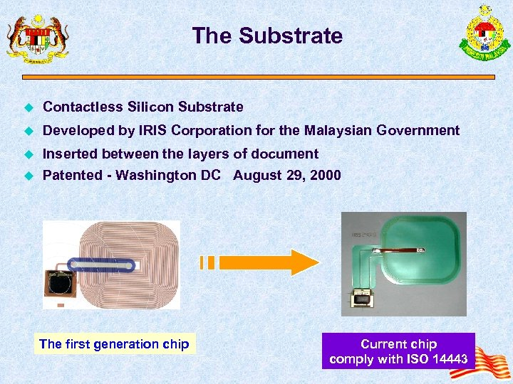 The Substrate u Contactless Silicon Substrate u Developed by IRIS Corporation for the Malaysian