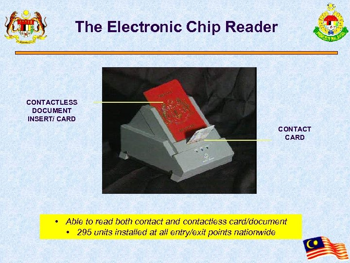 The Electronic Chip Reader CONTACTLESS DOCUMENT INSERT/ CARD CONTACT CARD • Able to read