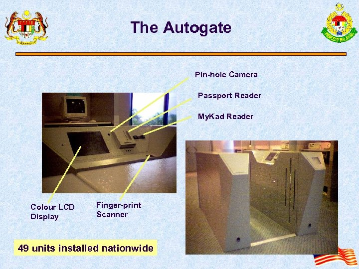 The Autogate Pin-hole Camera Passport Reader My. Kad Reader Colour LCD Display Finger-print Scanner