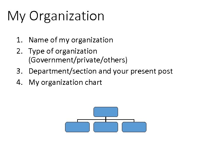 My Organization 1. Name of my organization 2. Type of organization (Government/private/others) 3. Department/section