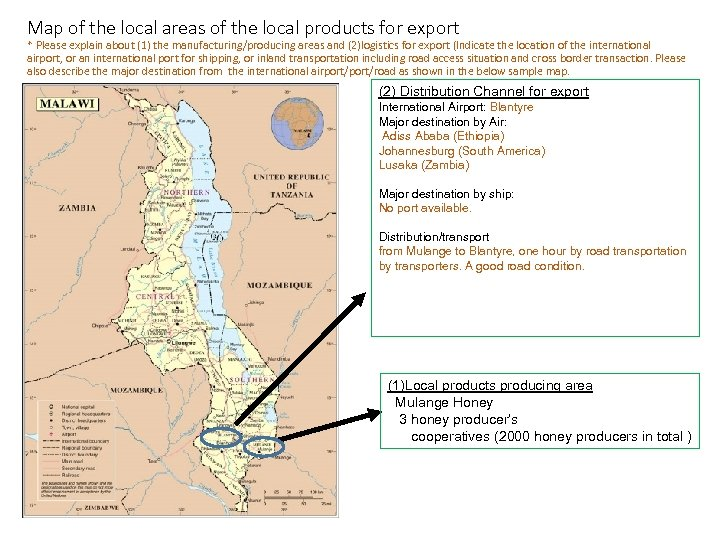 Map of the local areas of the local products for export * Please explain