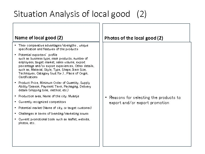 Situation Analysis of local good (2) Name of local good (2) Photos of the local