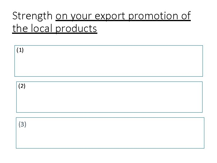 Strength on your export promotion of the local products (1) (2) (3)