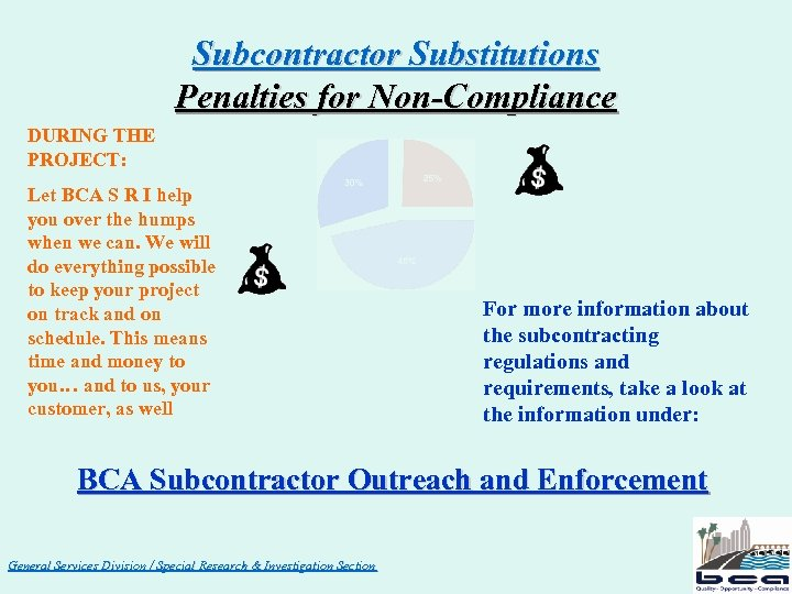 Subcontractor Substitutions Penalties for Non-Compliance DURING THE PROJECT: Let BCA S R I help